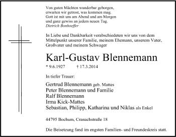 Blennemann Bochum traueranzeigen bestattungen träger